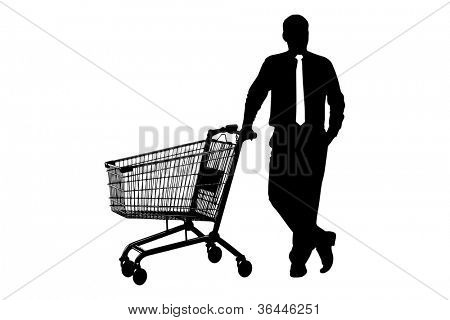 Silhouette of man with empty pushcart isolated on white background