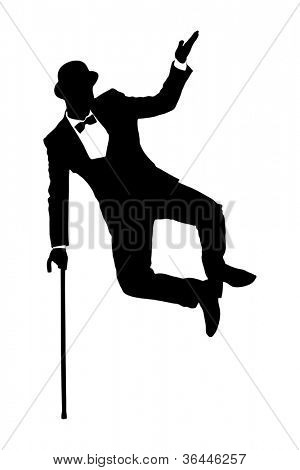 Silhouette of a man in suit holding a cane and dancing isolated on white background
