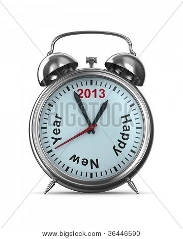 2013 year on alarm clock. Isolated 3D image