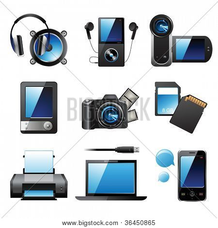 9 altamente detallados los iconos de dispositivos electrónicos