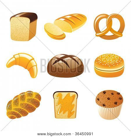 9 highly detailed bread icons