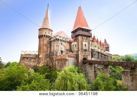 The Hunyad Castle. Medieval  Gothic-Renaissance castle in Hunedoara (Transylvania).  Castelul Huniazilor or Castelul Corvinestilor, Vajdahunyad, Romania