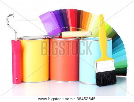 Materials for repair with palette isolated on white