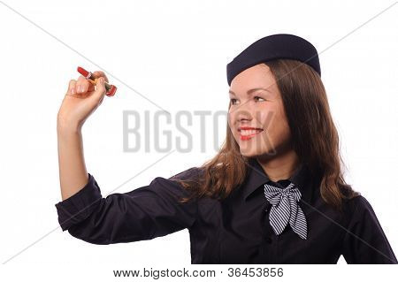 beautiful young flight attendant, isolated on white