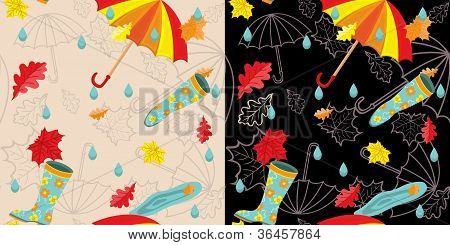 Bright rainy autumn seamless