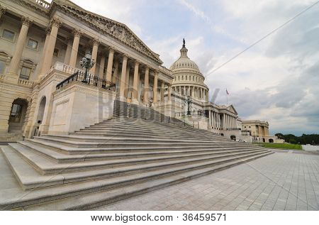 Washington DC, United States Capitol Building east facade in a cloudy day