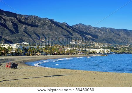 view of Rio Verde Beach in Marbella, Spain