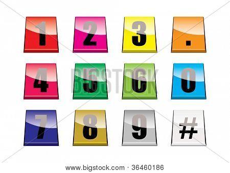 Coleção de guias números coloridos com reflexão da luz