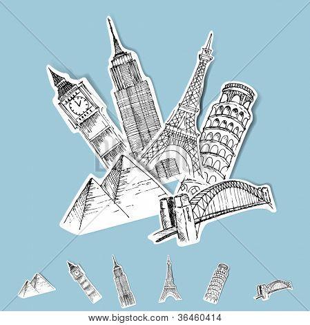 Vetor adesivo conjunto de destinos viagens