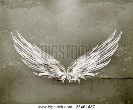 Wings white old-style vector