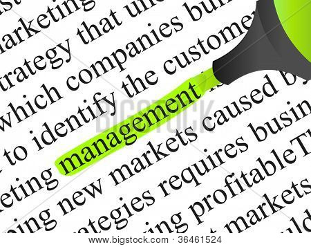 High resolution concept or conceptual abstract black text isolated on white paper background with a green marker as a metaphor for management,business ,marketing,target,highlight,solution or branding