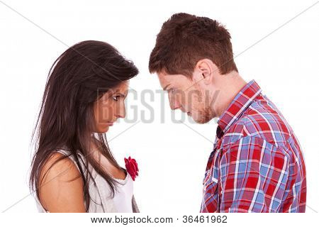 couple going head to head in an argument isolated over a white background
