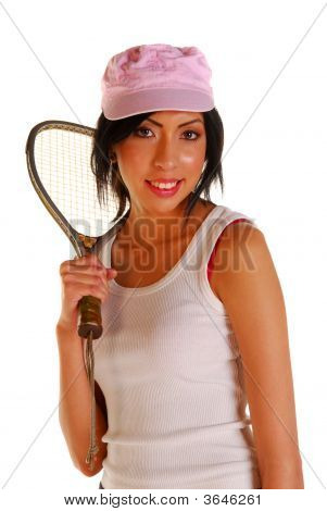 Young Latin Woman Holding Racquet
