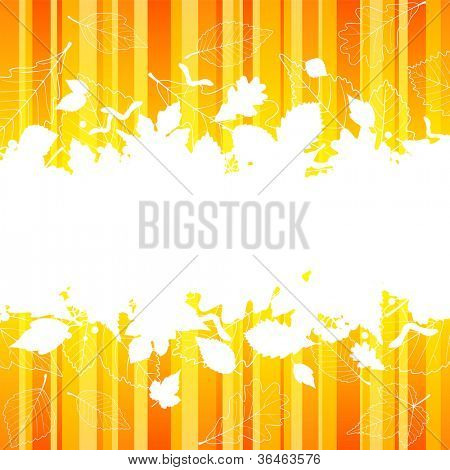 Vector autumn frame with fall leaf silhouette on orange striped background