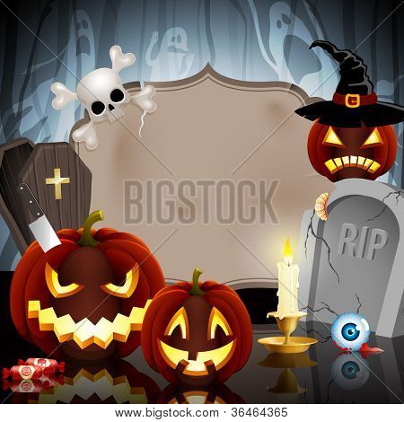 Halloween card with place for text. Check my portfolio for vector version.