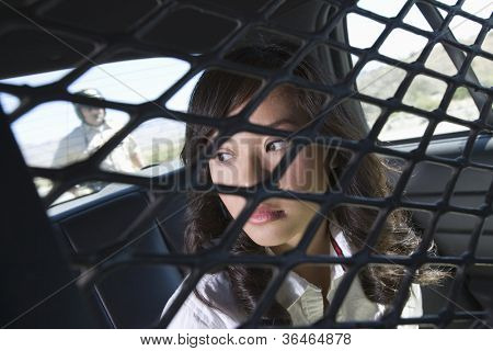 Female criminal sitting in police car with traffic cop in the background