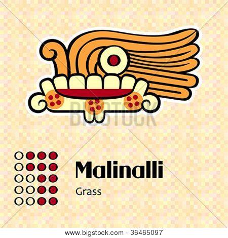 Aztec calendar symbols - Malinalli or grass (12)