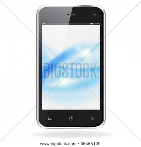 Realistic mobile phone with blue waves on screen isolated on white background. Vector eps10 illustration