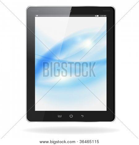 Computadora de la pc de tableta realista con ondas azules en pantalla aislado sobre fondo blanco. Vector eps10 il