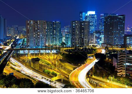 highway and traffic in city at night
