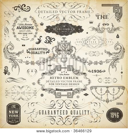 Vector set of calligraphic design elements: page decoration, Premium Quality and Satisfaction Guarantee Label, antique and baroque frames and ornaments | Old paper texture.