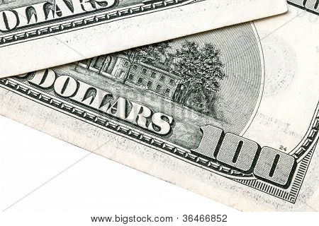 100 USD isolated on white background