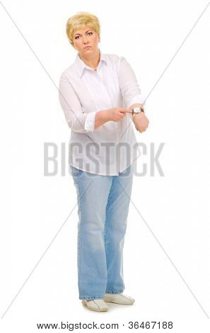 Senior woman with watches isolated