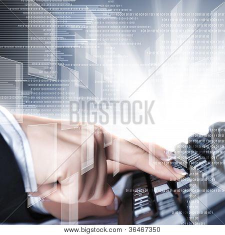 Computer keyboard and social media images