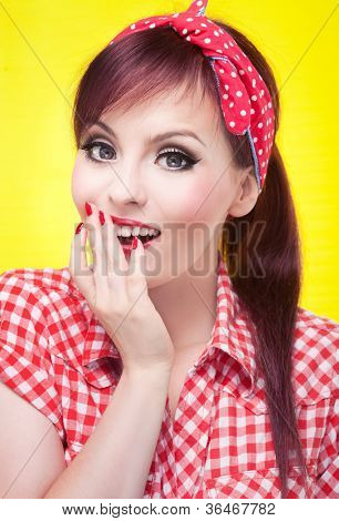 Surprised pin up girl - retro style portrait