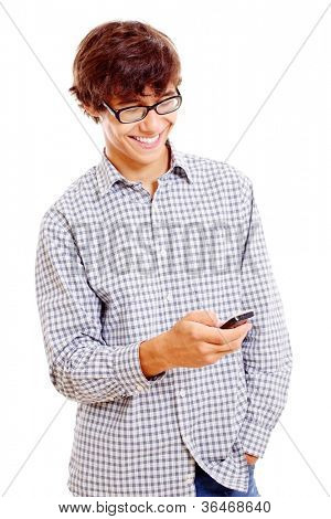 Young smiling latin man in black glasses enjoying cell phone. Isolated on white background, mask included