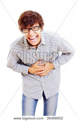 Young latin man in black glasses doubling up with laughter. Isolated on white background, mask included