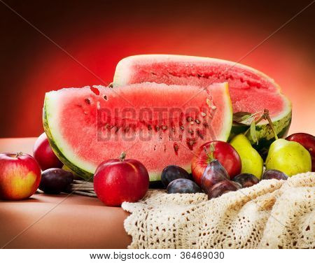 Watermelon. Autumn Fruits Still-life