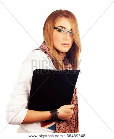 Young businesswoman isolated on white background, attractive student girl with book in hand, pretty female office worker holding folder with documents, smart successful lady wearing eye glasses
