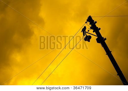 Dramatic background with yellow sky and silhouette of a bird sitting on a lamp post. Room for text.