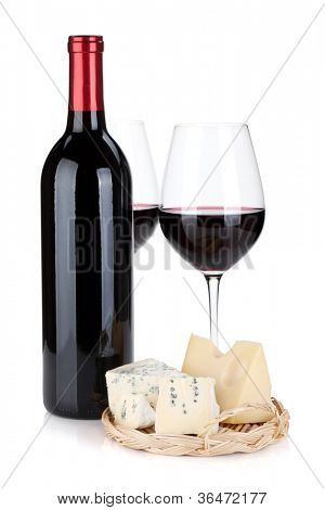 Various types of cheeses and red wine. Isolated on white background