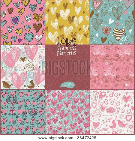 Romantic seamless patterns. Vector set. Cartoon patterns for cute wallpapers