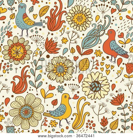 Vintage birds in retro flowers. Seamless pattern in vector
