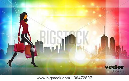 Vector illustration fashion girl shopping