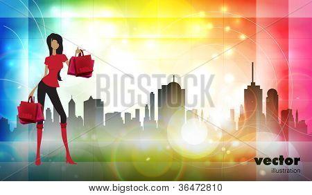 Vector illustration fashion girl shopping