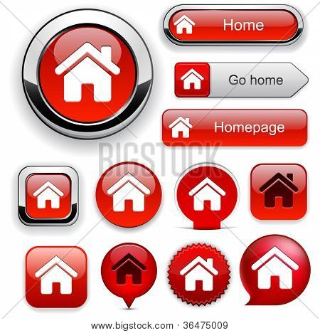 Home red design elements for website or app. Vector eps10.