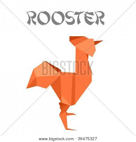 illustration of an origami rooster
