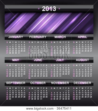 Vector abstract calendar 2013