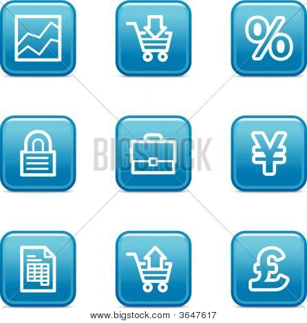 E-Business Web Icons, Blue Glossy Buttons Series