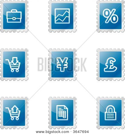 Business Web Icons, Blue Glossy Stamp Series