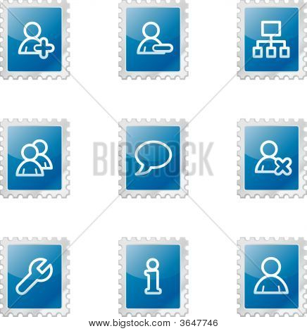 Users Web Icons, Blue Glossy Stamp Series
