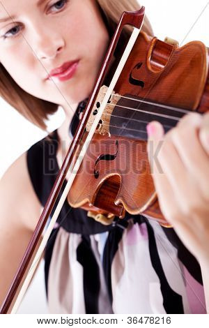 Woman with the violin over white background