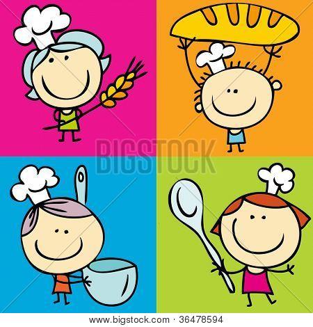 Happy doodle kids with food