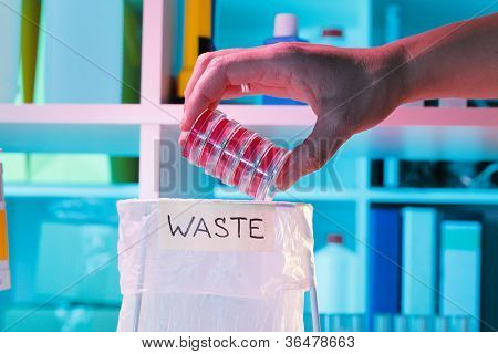 Wastebasket in the biochemical laboratory, safety of biological research