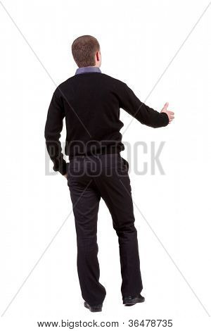 Vista traseira do empresário estende a mão para apertar as mãos. Coleção de pessoas de vista traseira. Vista traseira