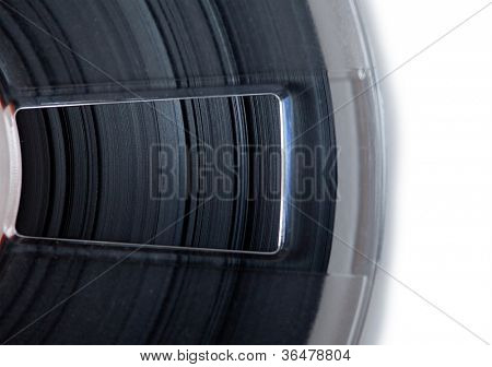 High magnification of tape edges on a open tape reel.
